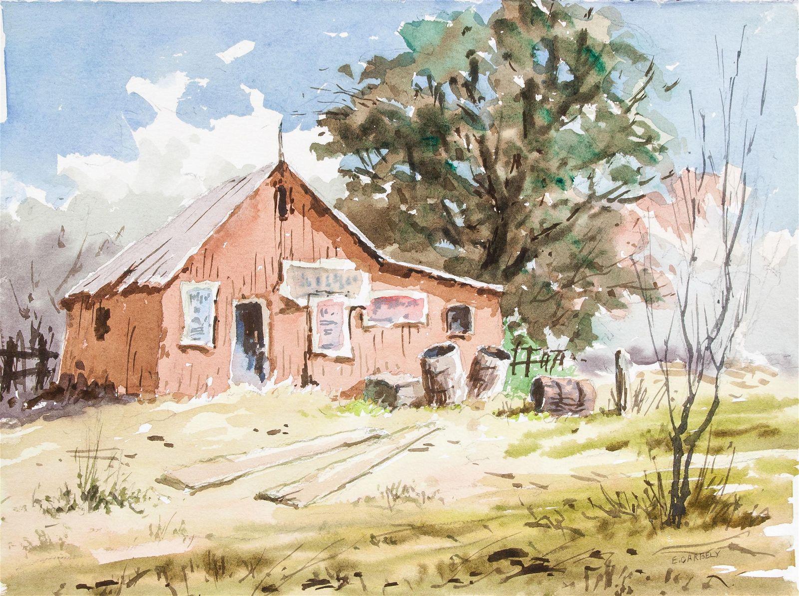 Edward Garbely 1908-1999 US Watercolor Landscape