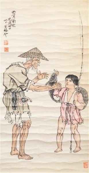 Xu Beihong 1895-1953 Chinese Watercolor Scroll
