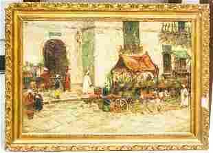 Oil Canvas Orientalist tMarketplace Signed Deacon