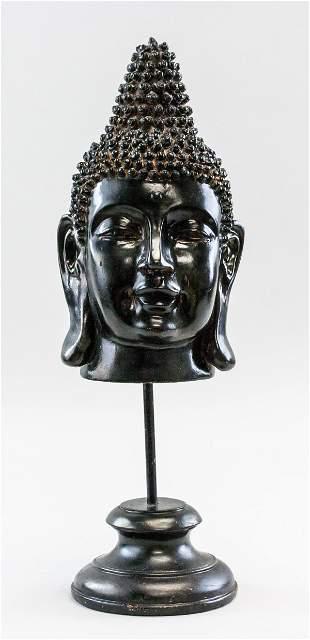 Chinese Buddha Head with Wood Stand