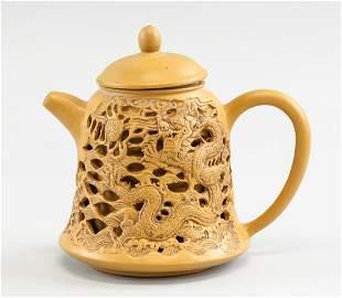 Chinese Dark Yellow Sizsha Dragon Teapot