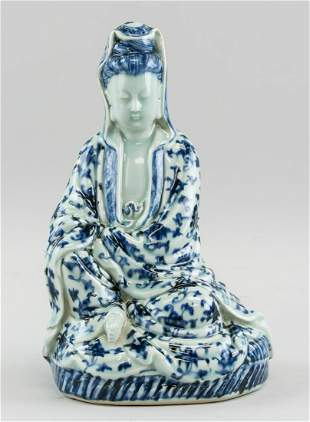 Chinese Republic White & Blue Porcelain Guanyin