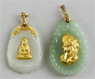 Lot of Two Chinese Gilt Jade Pendant