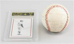 1965 Baseball w/ Playing Card Signed Mickey Mantle