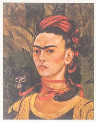"""Mexican Signed """"Frida Kahlo"""" Lithograph on Paper"""