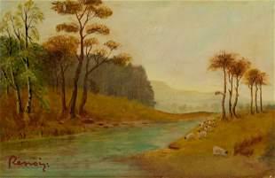 French Oil on Board Landscape Signed Renoir