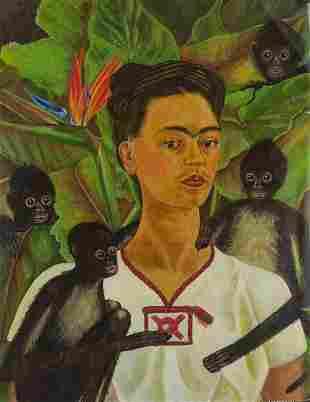 Giclee on Canvas Signed Kahlo Damaged