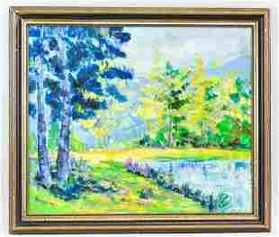 French Oil on Canvas Landscape Signed Kikoine