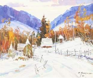 E. Young Acrylic on Canvas Landscape
