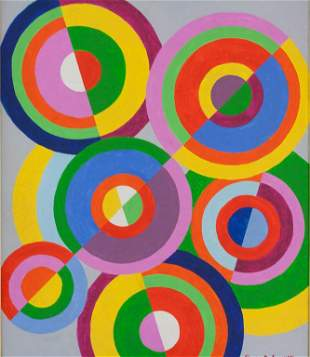 French Acrylic on Canvas Signed Sonia Delaunay