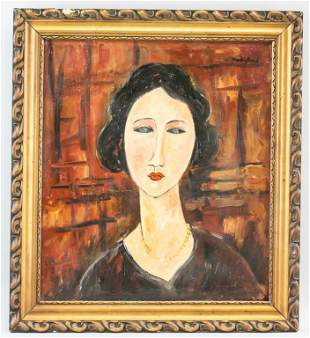 Italian Oil on Canvas Portrait Signed Modigliani
