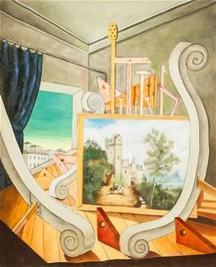 Italian Oil on Canvas Signed g. de Chirico