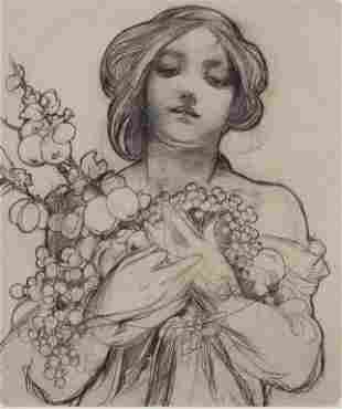 Czech Lithograph on Paper Signed Mucha 32/100