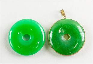 Lot of Two Green Hardstone Carved Pendants