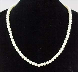 Chinese White Stone Bead Necklace