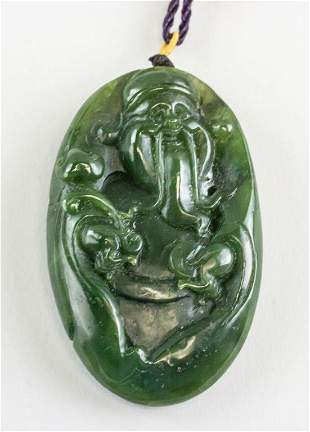 Chinese Green Jade Carved Shouxin Toggle