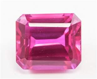 12.40ct Emerald Cut Pink Natural Ruby GGL