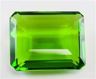 70.65ct Emerald Cut Green Peridot GGL