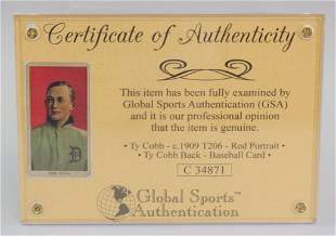 1909 Red Portrait Ty Cobb Photo Card COA