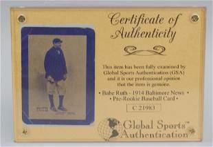 1914 Baltimore News Babe Ruth Photo Card COA