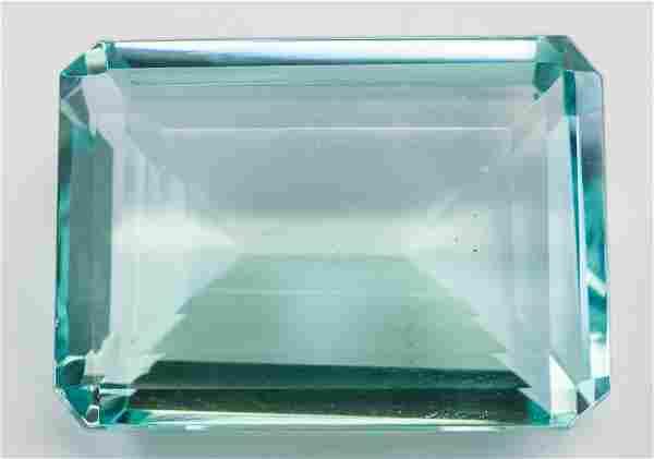 """132.65ct Emerald Cut Blue Natural """"Aquamrine"""" GGL"""