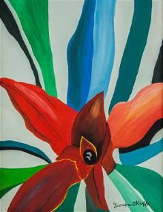 American Acrylic on Canvas Signed Georgia O'Keeffe