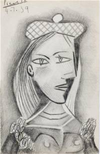 Spanish Graphite Portrait Signed Picasso 4.7.39