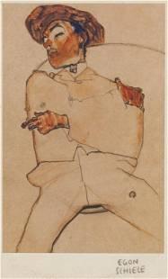 Austrian Linocut on Paper Signed Egon Schiele