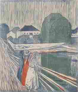 Norwegian Linocut on Paper Signed Ed Munch