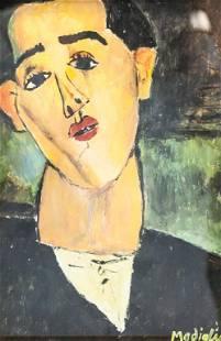 Italian Tempera on Paper Signed Modigliani