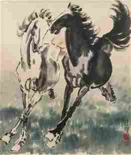 Xu Beihong 1895-1953 Chinese Ink on Paper Horses