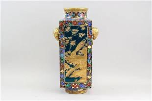 Chinese Gilt Phoenix and Peacock Vase Qianlong Mk