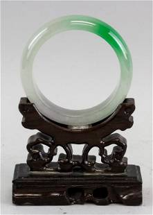 Chinese Two Color Jadeite Carved Bangle