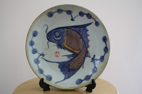 7: Japanese Imari plate. Manufacturing stamp on the bac
