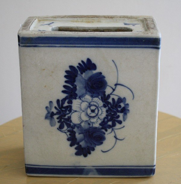 8: Chinese planter, exquisite blue & white design. Ming