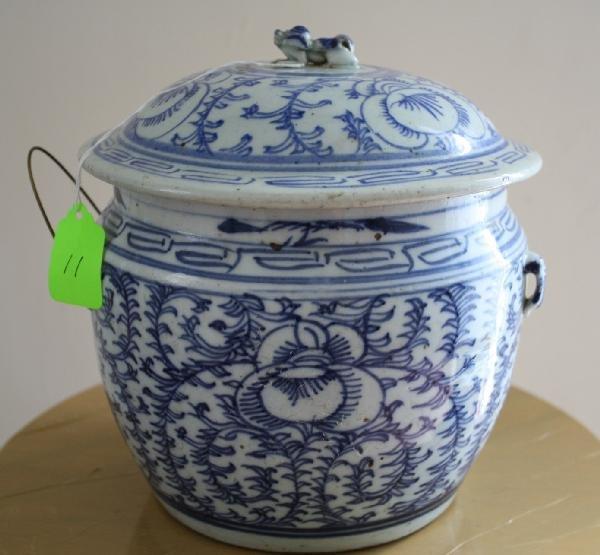 "11: Chinese Blue & White (""Ming"" Style) Porcelain lidde"