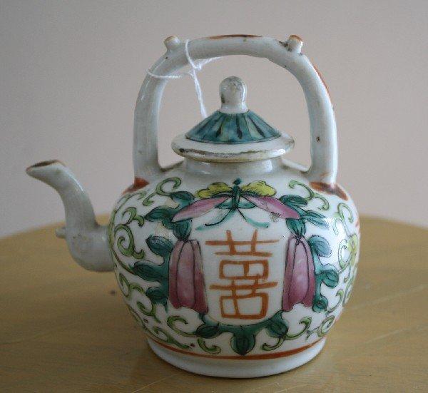 "12: Porcelain lidded tea pot with handle, ""double shou"""