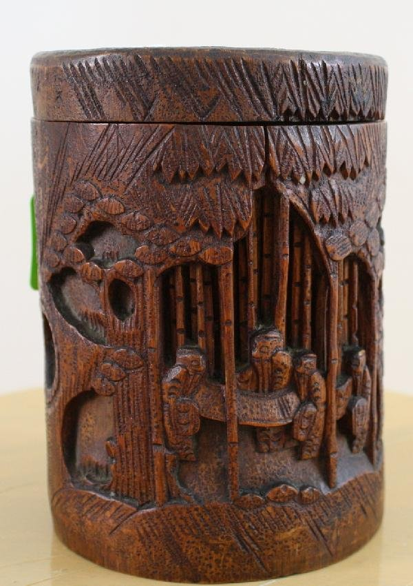 19: Hand carved bamboo brush pot, of cylindrical form w