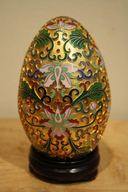 """2: Chinese coloisonne egg with wood stand, H: 5"""""""