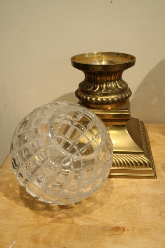 3: Indian pair of crystal ball candle holder stand (bra - 3