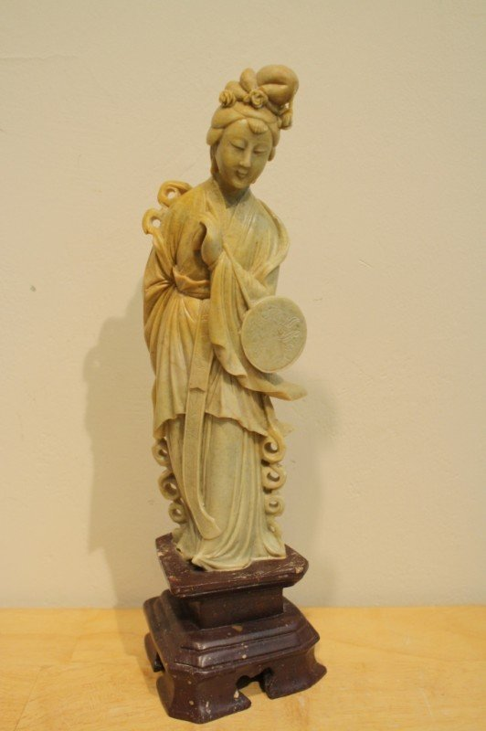 """5: Chinese soapstone carved """"Kwan Yin"""" with stone stand"""