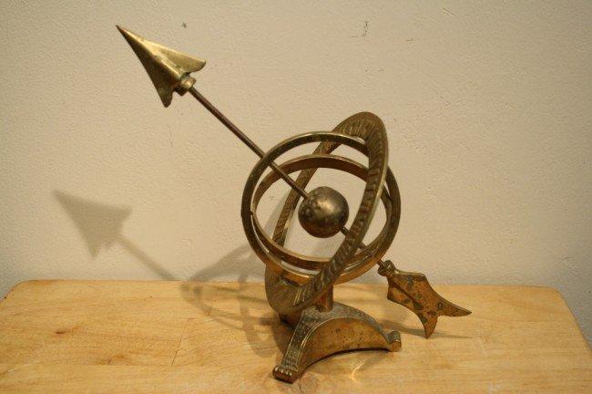 """8: Brass compass sculpture, H: 9-1/2"""", W: 10"""""""