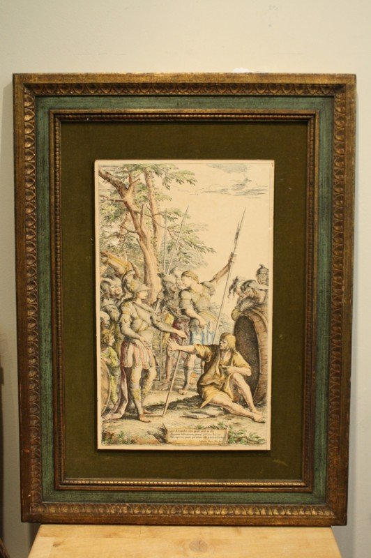 """11: Old Painting with frame, lithogragh, 18-1/2"""" X 11"""""""