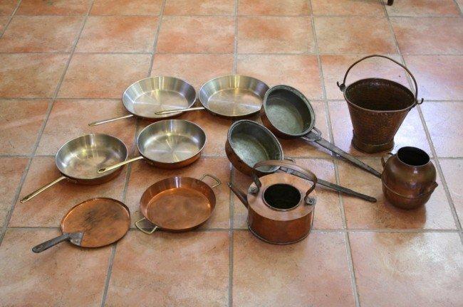 14: 11 pcs. Old fashion Kitchen wares (copper)
