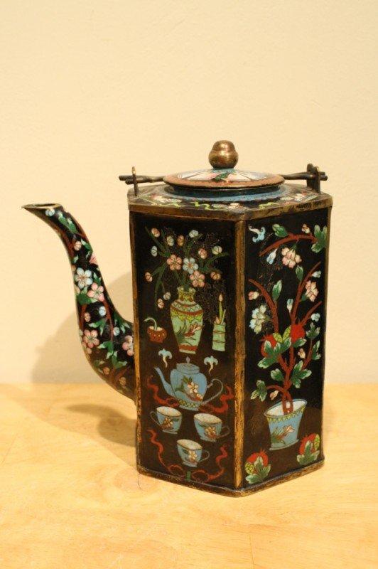 16: Chinese Cloisonne Enamel Hexagonal lidded teapot 19