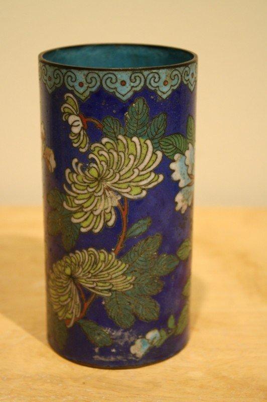 17: Chinese Cloisonne Enamel brush vase, Qing Dynasty (
