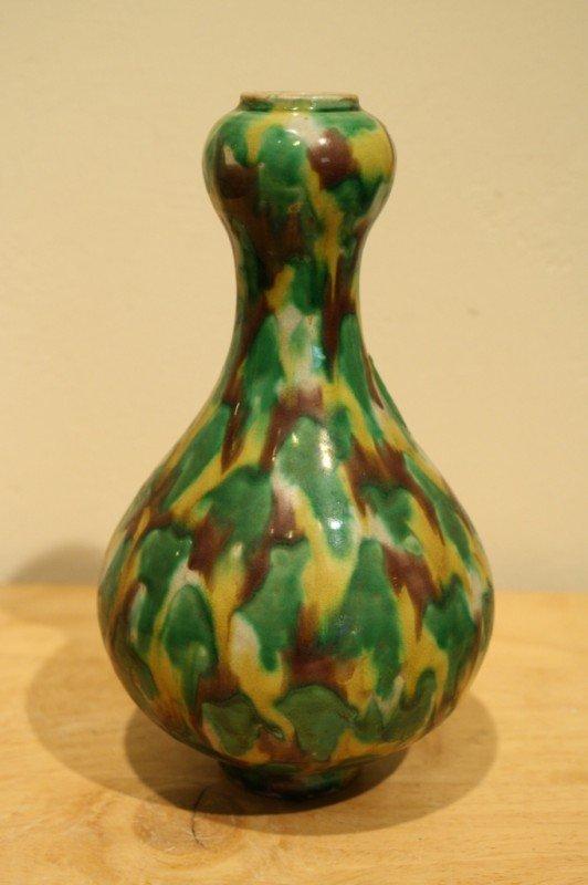 23: Chinese SanSai glazed porcelain, garlic-form vase,