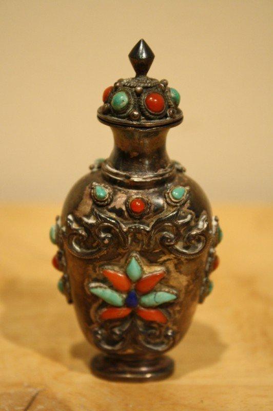 24: Mongolian Baitong silver metal snuff bottle early 2