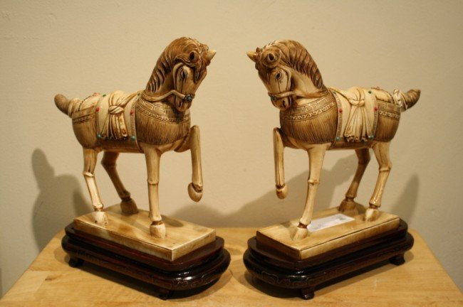 """108: Chinese Pair of Ivory horses, H: 8-1/2"""" x L: 10"""""""