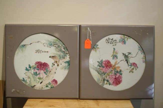 180: Chinese pair of porcelain plates, early 20th centu